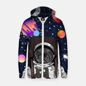 Thumbnail image of French Bulldog In Space Zip up hoodie, Live Heroes