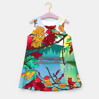 Miniatur Leaves in the park Girl's summer dress, Live Heroes