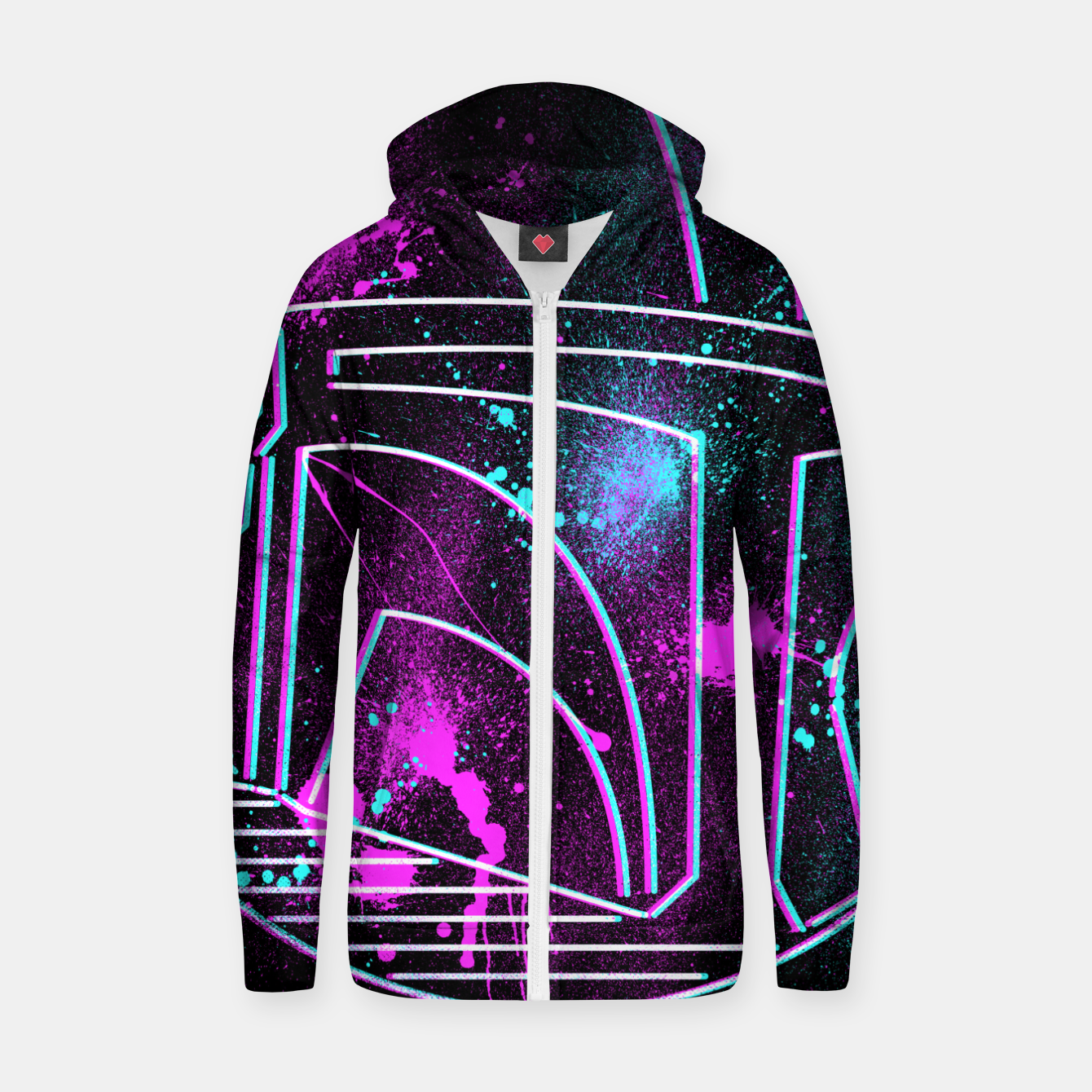Image of Neon Mando Zip up hoodie - Live Heroes