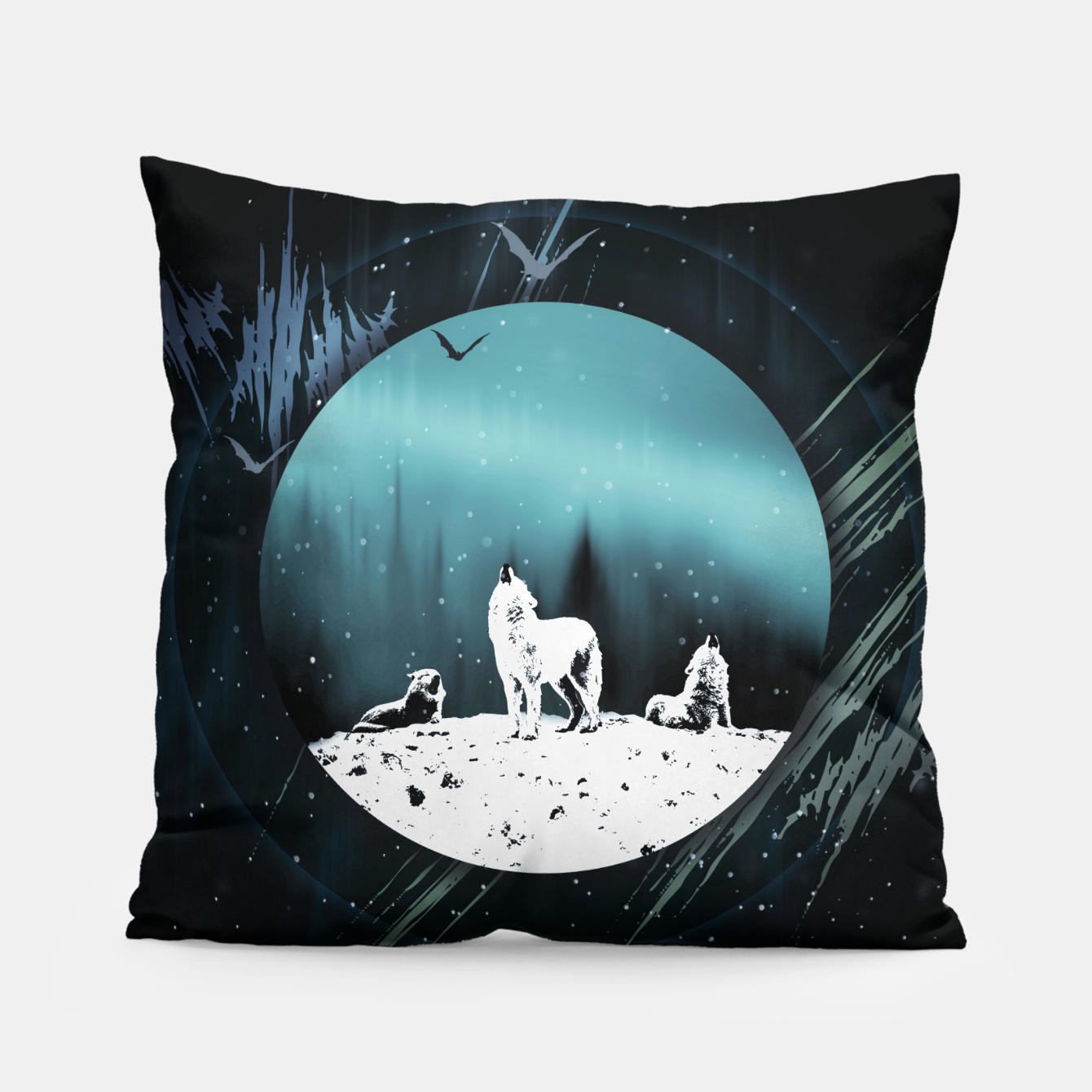 Image of Arctic Wolves at Night Kissen - Live Heroes