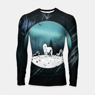 Miniature de image de Arctic Wolves at Night Longsleeve rashguard, Live Heroes