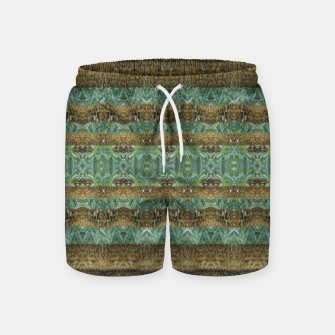 Thumbnail image of Multicolored Tribal Stripes Print Pattern Swim Shorts, Live Heroes
