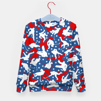 Thumbnail image of Ice Hockey Player USA American Flag Camo Camouflage Pattern Kid's sweater, Live Heroes