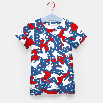 Thumbnail image of Ice Hockey Player USA American Flag Camo Camouflage Pattern Kid's t-shirt, Live Heroes