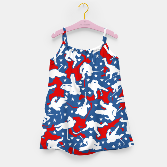 Thumbnail image of Ice Hockey Player USA American Flag Camo Camouflage Pattern Girl's dress, Live Heroes