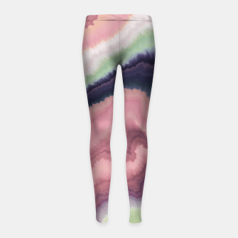 Purple pink watercolor brush strokes Leggings para niña Bild der Miniatur