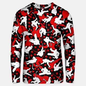 Thumbnail image of Ice Hockey Player Canada Flag Camo Camouflage Pattern Unisex sweater, Live Heroes