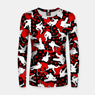 Thumbnail image of Ice Hockey Player Canada Flag Camo Camouflage Pattern Women sweater, Live Heroes
