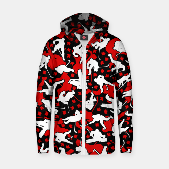 Thumbnail image of Ice Hockey Player Canada Flag Camo Camouflage Pattern Zip up hoodie, Live Heroes