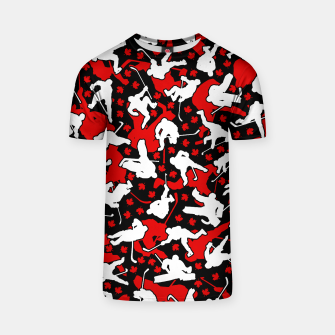 Thumbnail image of Ice Hockey Player Canada Flag Camo Camouflage Pattern T-shirt, Live Heroes