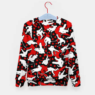Thumbnail image of Ice Hockey Player Canada Flag Camo Camouflage Pattern Kid's sweater, Live Heroes