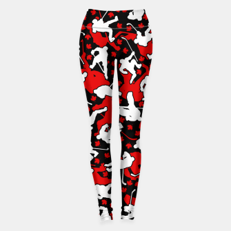 Thumbnail image of Ice Hockey Player Canada Flag Camo Camouflage Pattern Leggings, Live Heroes