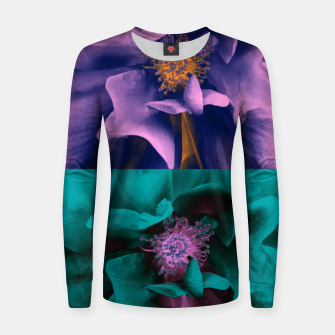 Thumbnail image of Blossoming rose collage, duotone effect Women sweater, Live Heroes