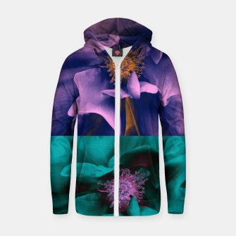 Thumbnail image of Blossoming rose collage, duotone effect Zip up hoodie, Live Heroes