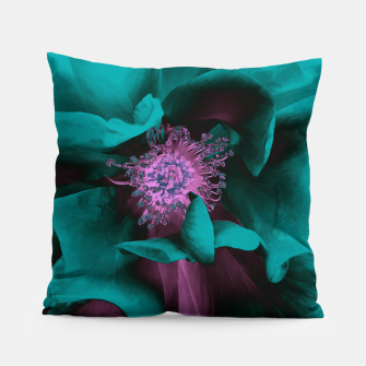 Thumbnail image of Blossoming rose collage, duotone effect Pillow, Live Heroes