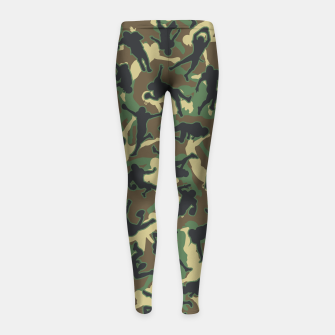 Thumbnail image of American Football Player Camo Woodland Camouflage Pattern Girl's leggings, Live Heroes