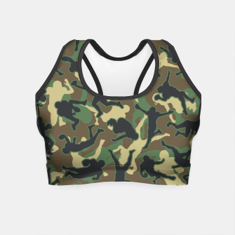 Thumbnail image of American Football Player Camo Woodland Camouflage Pattern Crop Top, Live Heroes