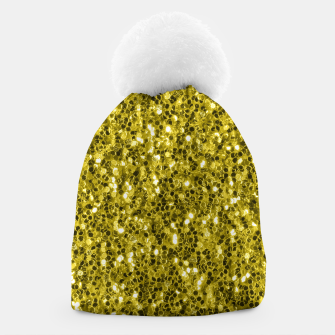 Thumbnail image of Dark illuminating yellow glitter sparkles Beanie, Live Heroes
