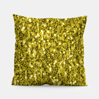 Thumbnail image of Dark illuminating yellow glitter sparkles Pillow, Live Heroes
