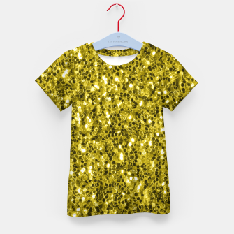 Thumbnail image of Dark illuminating yellow glitter sparkles Kid's t-shirt, Live Heroes