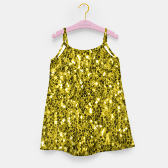 Thumbnail image of Dark illuminating yellow glitter sparkles Girl's dress, Live Heroes