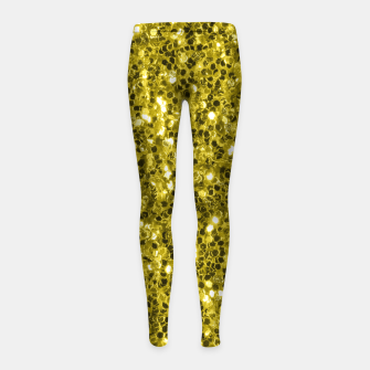 Thumbnail image of Dark illuminating yellow glitter sparkles Girl's leggings, Live Heroes