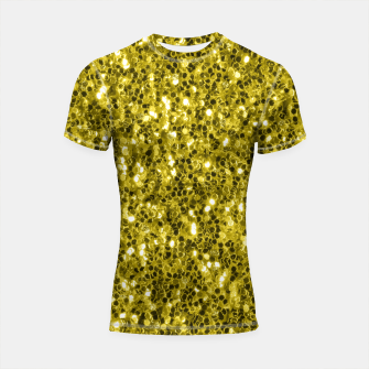 Thumbnail image of Dark illuminating yellow glitter sparkles Shortsleeve rashguard, Live Heroes