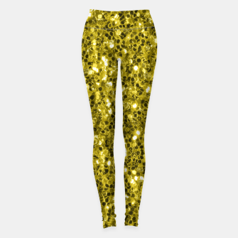 Thumbnail image of Dark illuminating yellow glitter sparkles Leggings, Live Heroes