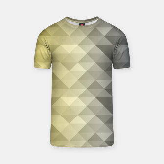 Thumbnail image of Yellow Ultimate Gray Gradient Geometric Triangle Squares Pattern T-shirt, Live Heroes