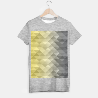 Thumbnail image of Yellow Ultimate Gray Gradient Geometric Triangle Squares Pattern T-shirt regular, Live Heroes
