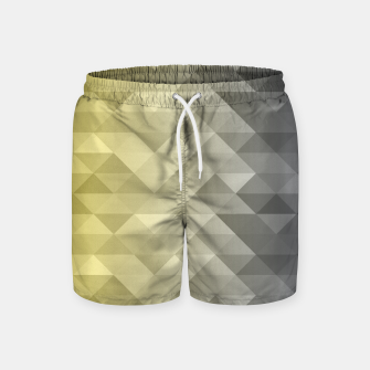 Thumbnail image of Yellow Ultimate Gray Gradient Geometric Triangle Squares Pattern Swim Shorts, Live Heroes