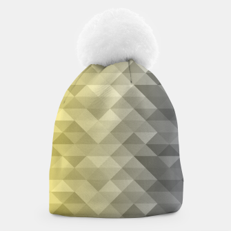 Thumbnail image of Yellow Ultimate Gray Gradient Geometric Triangle Squares Pattern Beanie, Live Heroes