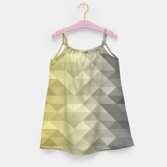 Thumbnail image of Yellow Ultimate Gray Gradient Geometric Triangle Squares Pattern Girl's dress, Live Heroes