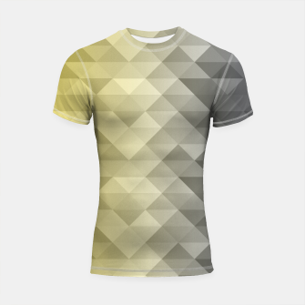 Thumbnail image of Yellow Ultimate Gray Gradient Geometric Triangle Squares Pattern Shortsleeve rashguard, Live Heroes