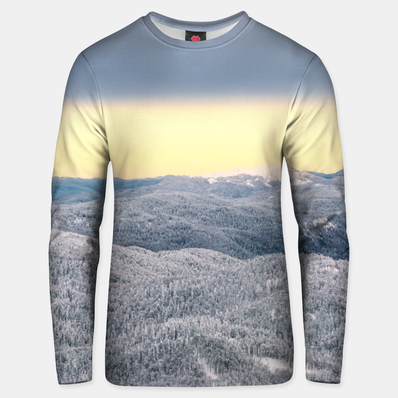 Image of Dark clouds sunny sky and snowy winter forest Unisex sweater - Live Heroes
