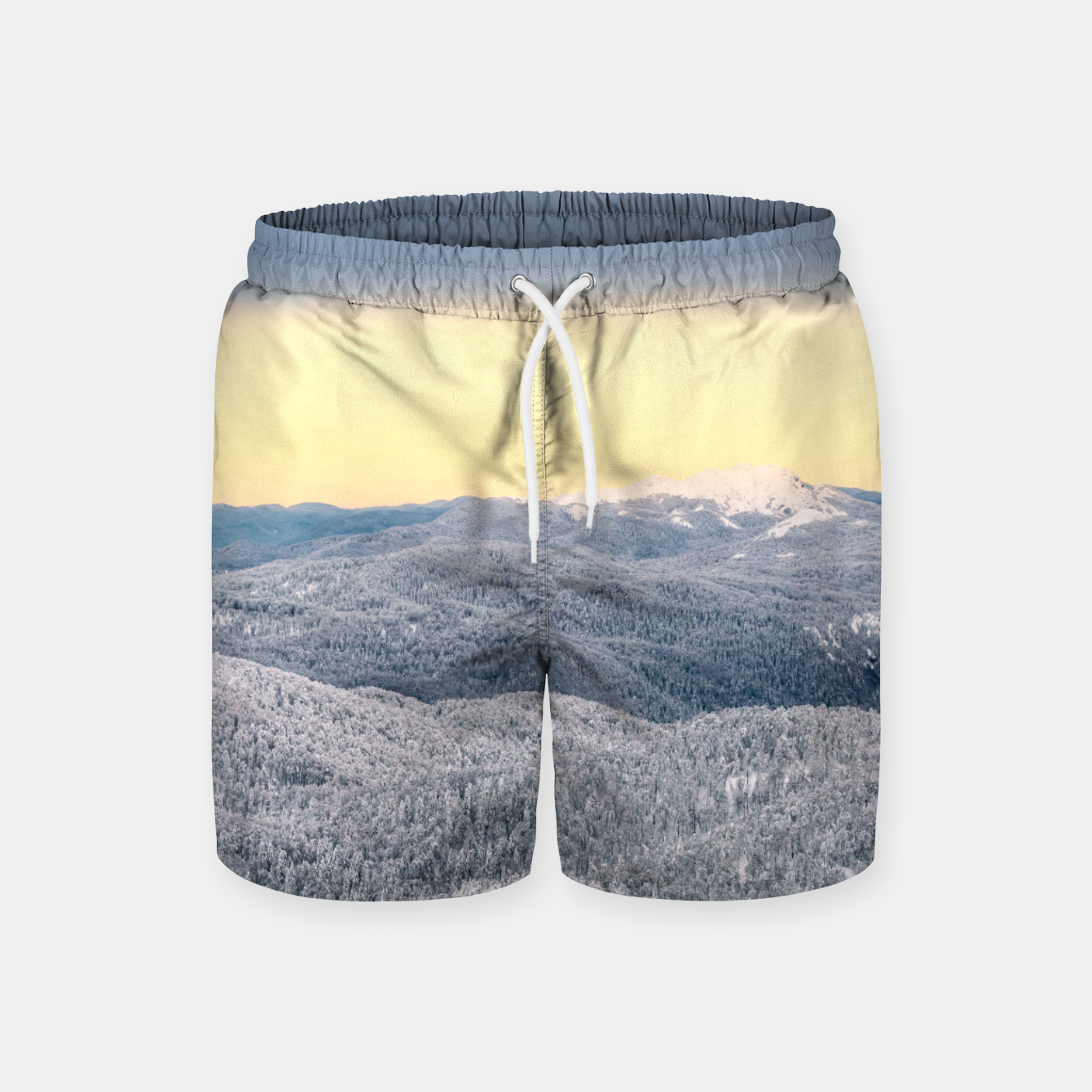 Image of Dark clouds sunny sky and snowy winter forest Swim Shorts - Live Heroes