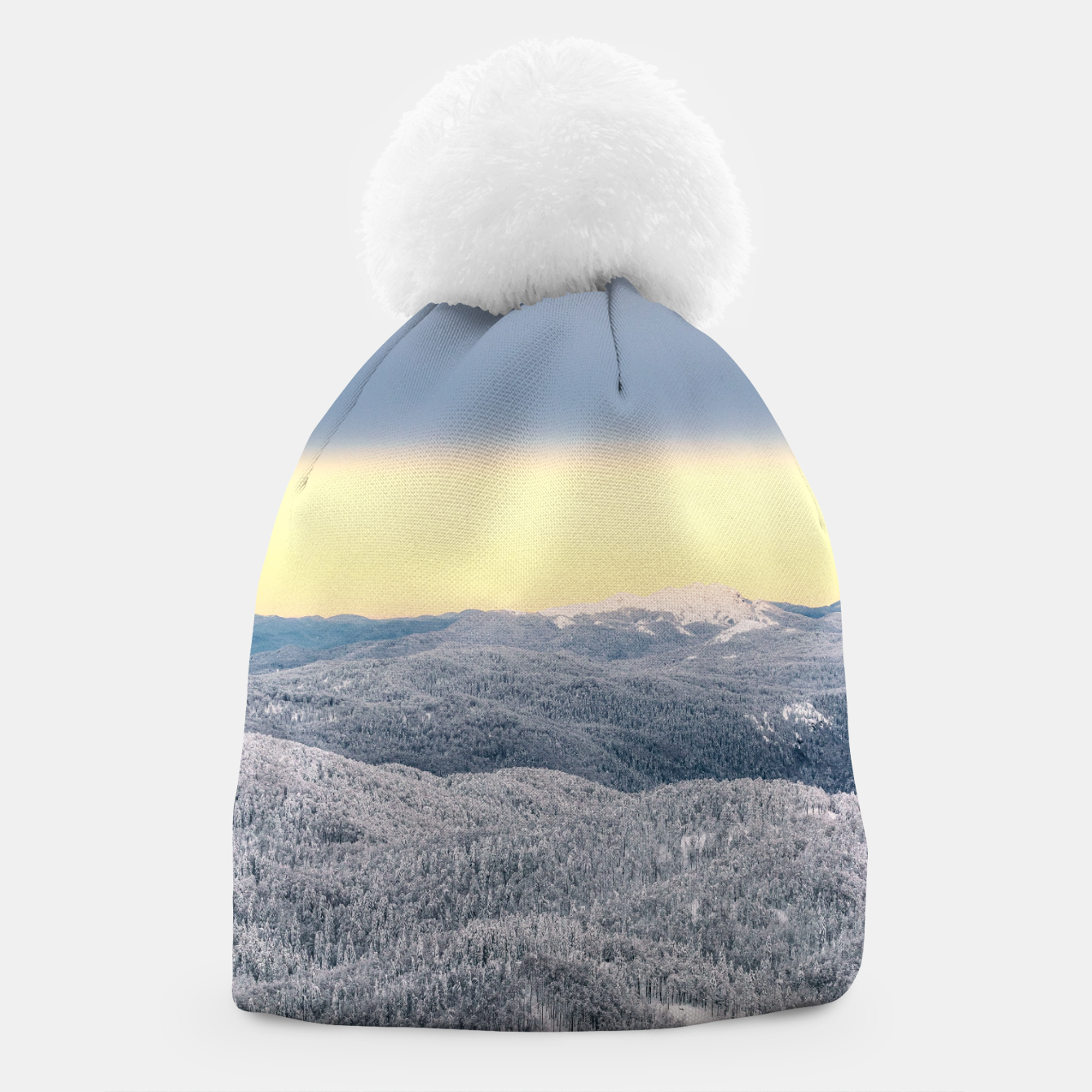 Image of Dark clouds sunny sky and snowy winter forest Beanie - Live Heroes