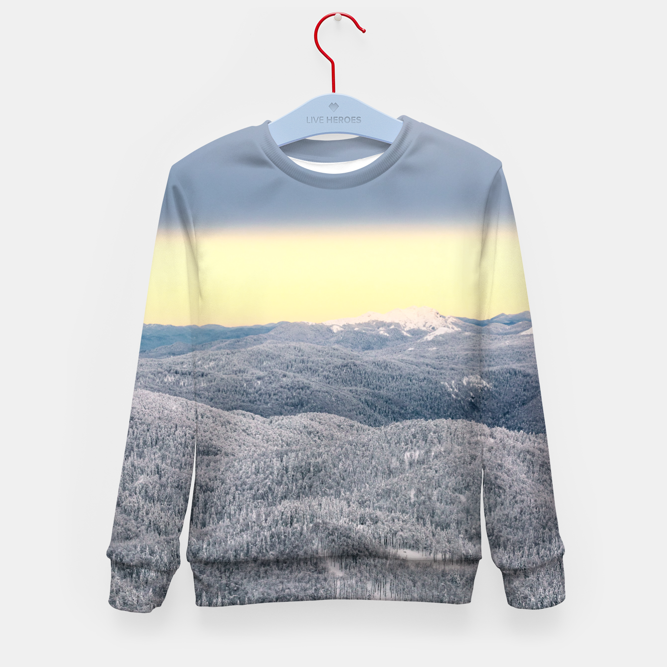 Image of Dark clouds sunny sky and snowy winter forest Kid's sweater - Live Heroes