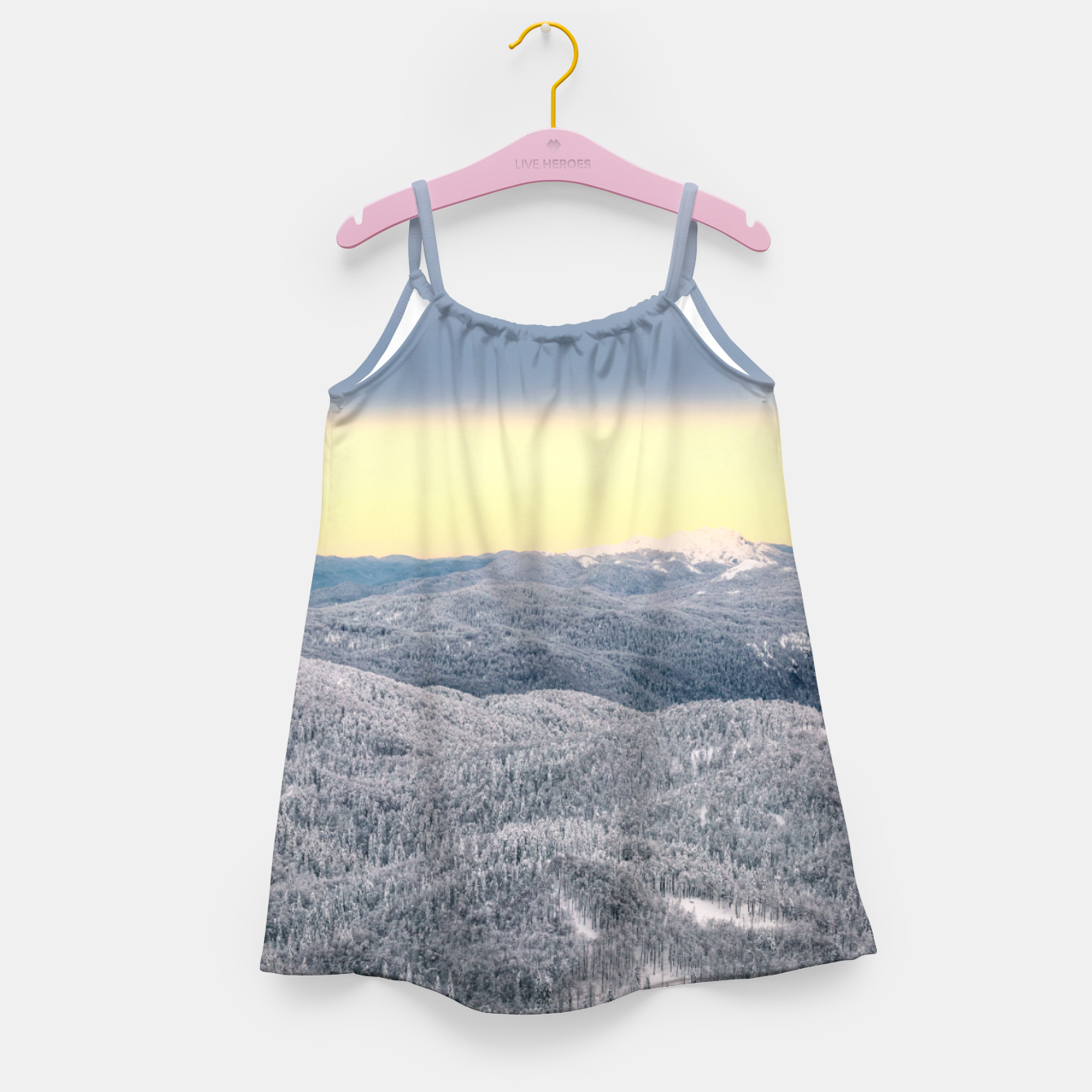 Image of Dark clouds sunny sky and snowy winter forest Girl's dress - Live Heroes
