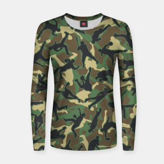 Thumbnail image of Baseball Player Camo Woodland Camouflage Pattern Women sweater, Live Heroes