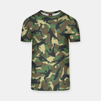 Thumbnail image of Baseball Player Camo Woodland Camouflage Pattern T-shirt, Live Heroes