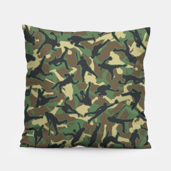 Thumbnail image of Baseball Player Camo Woodland Camouflage Pattern Pillow, Live Heroes