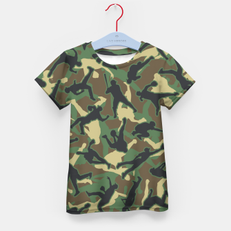 Thumbnail image of Baseball Player Camo Woodland Camouflage Pattern Kid's t-shirt, Live Heroes