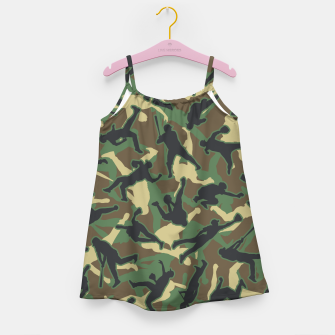 Thumbnail image of Baseball Player Camo Woodland Camouflage Pattern Girl's dress, Live Heroes