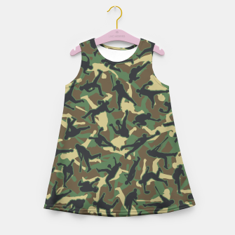 Thumbnail image of Baseball Player Camo Woodland Camouflage Pattern Girl's summer dress, Live Heroes