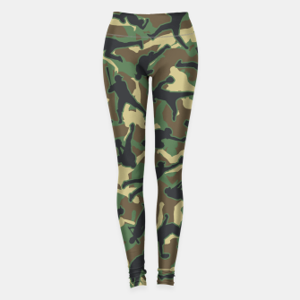 Miniatur Baseball Player Camo Woodland Camouflage Pattern Leggings, Live Heroes
