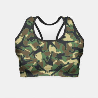 Miniatur Baseball Player Camo Woodland Camouflage Pattern Crop Top, Live Heroes