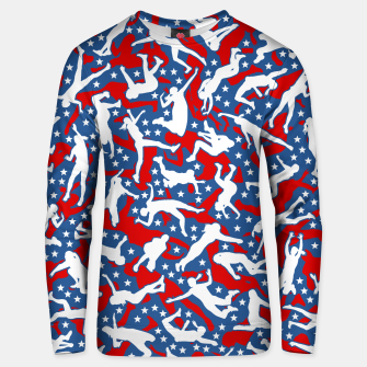 Miniatur Volleyball Player USA American Flag Camo Camouflage Pattern Unisex sweater, Live Heroes