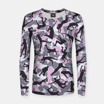 Miniatur Volleyball Player Camo Camouflage Pattern Pink Women sweater, Live Heroes