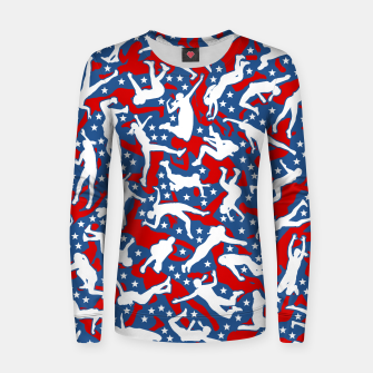 Miniatur Volleyball Player USA American Flag Camo Camouflage Pattern Women sweater, Live Heroes